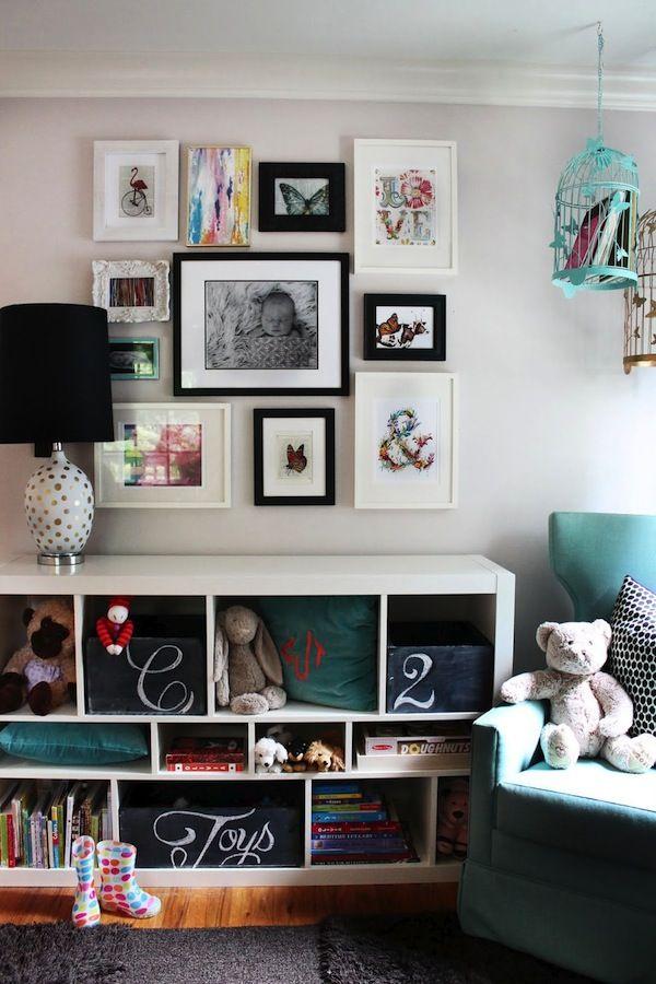 Photography | Family Photos | Home Decor | Art Display | Baby Nursery. I like how the frames don't all match.