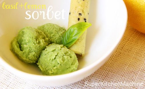 How to make refreshing Lemon Basil Sorbet with Thermomix, from SuperKitchenMachine.com