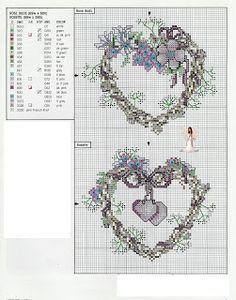 Cross-stitch Heart Wreaths...   Lavores da Ana Paula: Corações