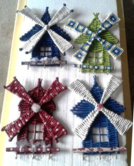 key holders /Wall hanger - anahtarlık - duvar süsü - geri dönüşüm - recycling - diy - newspaper crafts - windmills