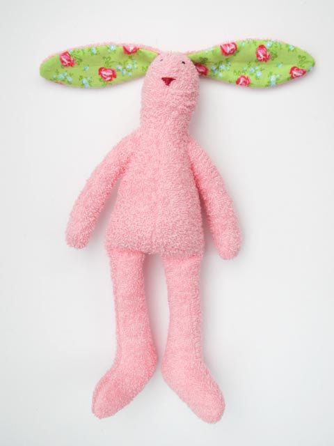 Stuffed bunny pink rabbit soft terry cloth #bunny #rabbit #hare #terryclothbunny #stuffedbunny #stuffedhare #stuffedrabbit #HappyDollsByLesya