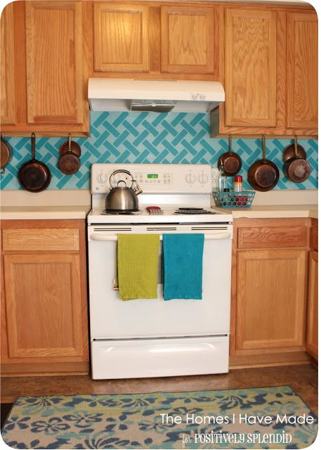 Cross-Hatch Vinyl Tile Backsplash | Positively Splendid {Crafts, Sewing, Recipes and Home Decor}