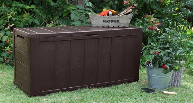 Plastic Garden Storage Box Weather Resistant Wood Panel Style Handles Rollers #Keter