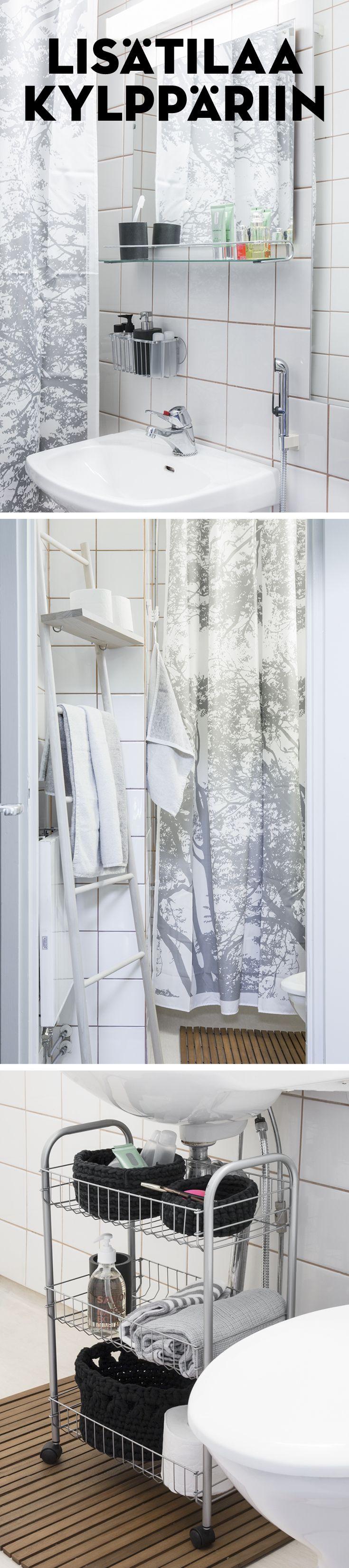 Yksinkertaisilla säilytyskalusteilla pieneenkin kylpyhuoneeseen saa lisää tilaa pikkutavaroille.