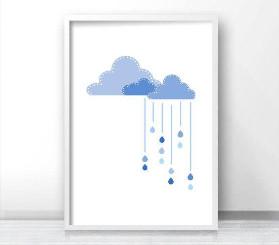 Printable nursery art, Cloud nursery wall art, Baby room ...