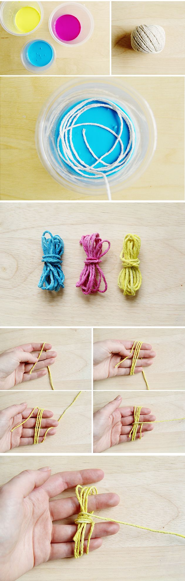 With Christmas fast approaching here's hoping you have mostly women to make for... right, in a perfect world. Fear (k)not (ha ha ha...) tomorrow we're making one for the boys. We'll be using this Monkey Knot technique so pay attention! 1. Using dyes or watered down acrylic paints, dye metre long lengths of yarn in …