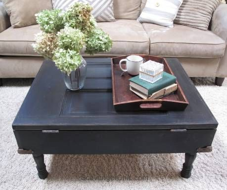 Vintage Door Coffee Table with Pallet wood interior