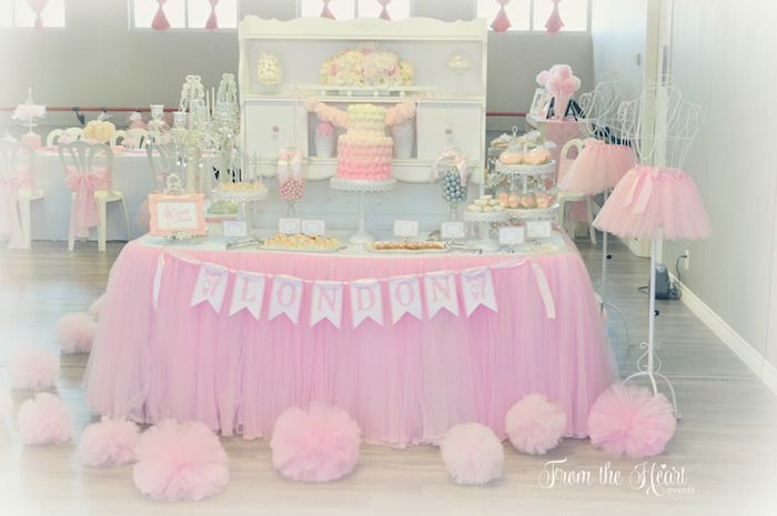 Tutus & Ties 4th Birthday Party via Kara's Party Ideas KarasPartyIdeas.com Cake, desserts, party supplies, printables, favors and more! #tutusandties #ballerinaparty #balletparty #balletpartyideas (30)