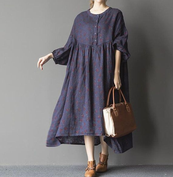 Fabric: Cotton, linen Color: blue, Black Size  Shoulder does not limit Bust 188cm / 73  Waist 200 cm / 78  Sleeve 27cm / 11  Hem 236cm / 92    Have any questions please contact me and I will be happy to help you.