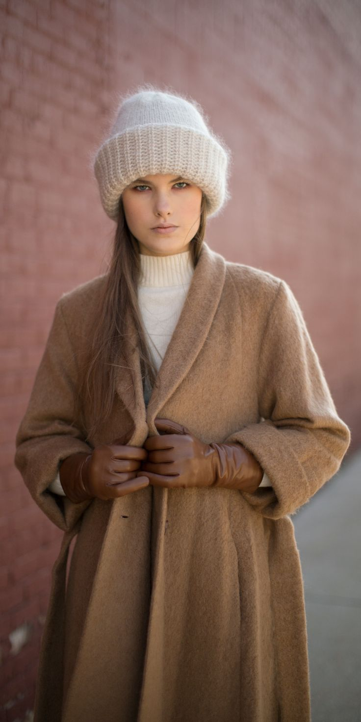 No. 6 Shelby Swing Coat, Samuji Long Brown Leather Gloves, & Ecru Chunky Beanie