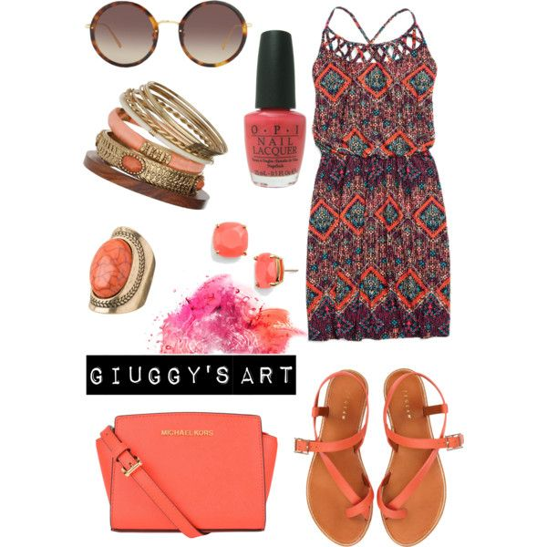 Peach explosion by giuggysart on Polyvore featuring polyvore, moda, style, maurices, Jigsaw, MICHAEL Michael Kors, Kate Spade, Wallis, Linda Farrow and OPI