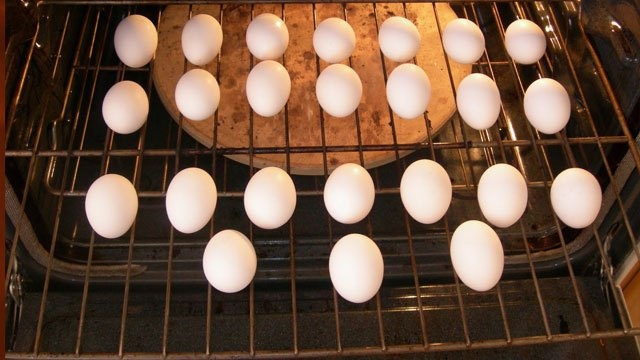 Make better hard-boiled eggs by baking them in the oven, not boiling them..especially great for large gatherings.