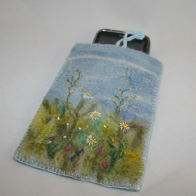 Meadow Phone Case - Embroidered and Felted Case £15.00 by Lynwoodcrafts