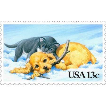 Puppy and Kitty Canvas Art - US Postal Service (12 x 18)