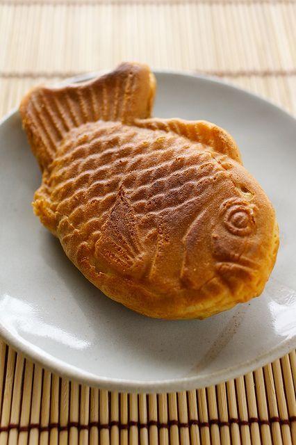 Japanese sweets, Taiyaki - a fish‐shaped pancake filled with bean jam.