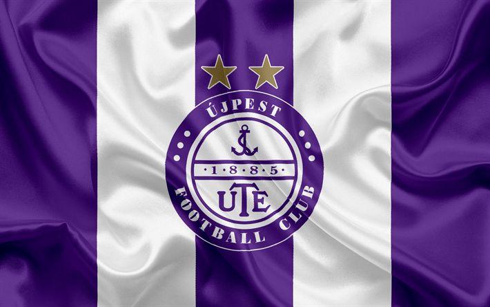 Descargar fondos de pantalla Ujpest FC, Hungarian Club de Fútbol, Ujpest emblema, logo, bandera de seda, Budapest, Hungary, fútbol, Hungarian football league