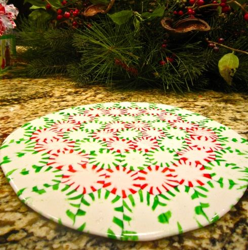 CHRISTMAS- Turn mints into a serving tray!  Just arrange on a cookie sheet lined with parchment paper, and bake at 350 for 8-10 minutes. Then let completely cool at room temperature.  After your party, break and keep in a candy jar!  Great idea for a plate of cookies you don't have to get back. Love this for delivering Christmas cookies.