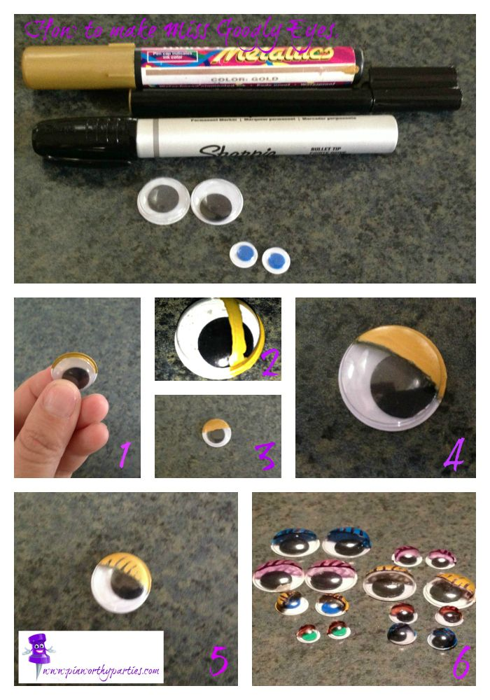 """How to make Miss Googly eyes to add some flair to your cards or invitations or just for your little girl to have some """"Lady Eyes"""" to play with.- DIY Mum"""