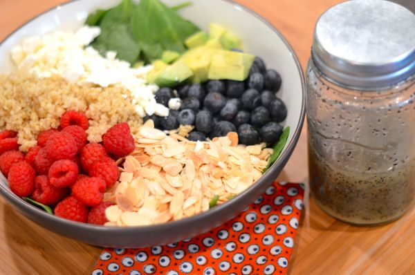 Berry Avocado Quinoa and Spinach Salad with Honey-Lime Poppy Seed Dressing