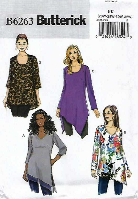 Butterick+Sewing+Pattern+6263+Womens+Plus+Size+26W-32W+Easy+Pullover+Tunic+Tops+Sleeve+Options