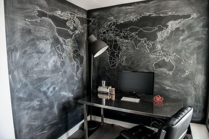 Un design mural splendid pentru un birou. Poti sa-ti pui ideile pe pereti si sa le dezvolti creativ. Superb! #decorperete, #amenajaribirou