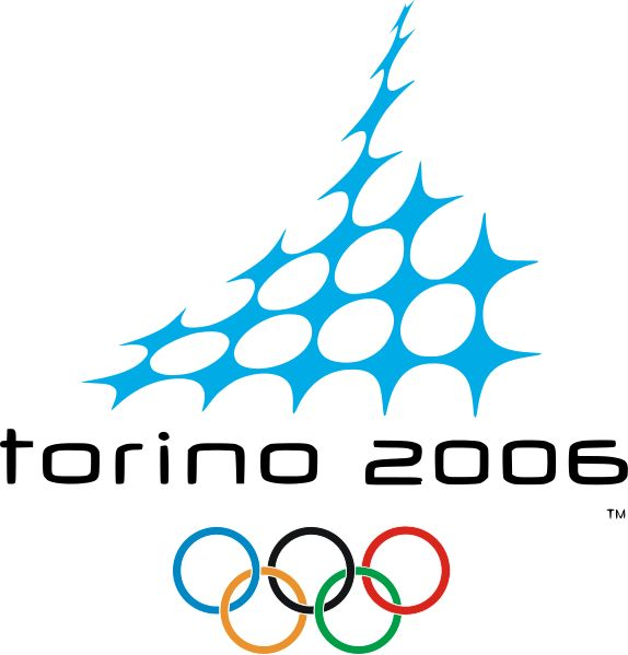 Torino 2006 | Winter Olympics | The emblem shows a stylized profile of the Mole Antonelliana, drawn in ice crystals in white and blue, signifying the snow and the sky. The crystal web also portrays the web of new technologies and the Olympic spirit of community.
