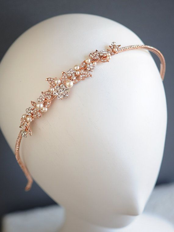 Rose Gold Wedding Headband Vintage Style by GlamorousBijoux