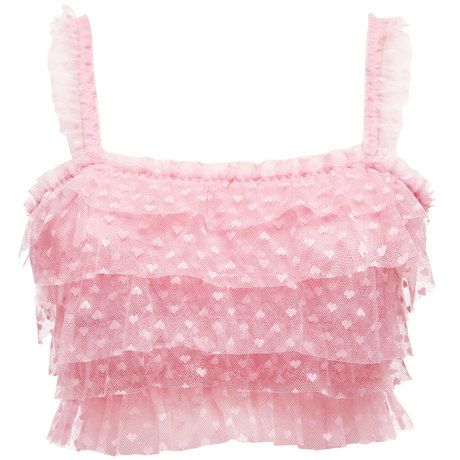 Frilly pink crop top