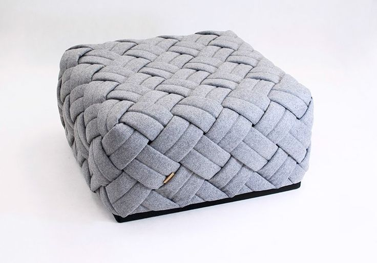 KUTO by Kumeko Design: pouf / ottoman, woven design, Swiss wool upholstery, hand-made in Berlin