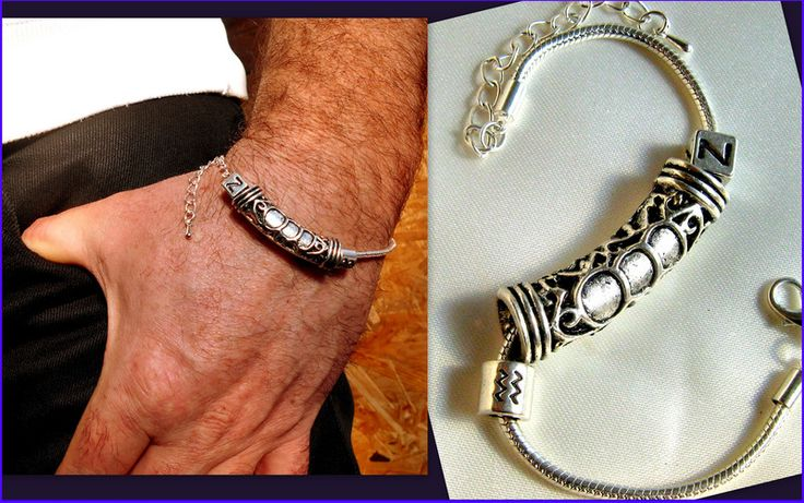 Mens Bracelets – Men/Unisex SILVER Bracelet,Tube & Personalized – a…