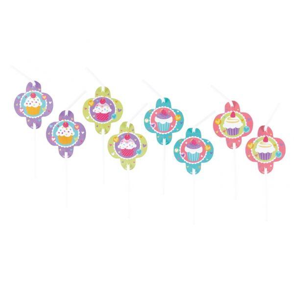 Zestaw 8 słomek do picia z papierowa aplikacja Ciasteczka. Doskonałe na przyjęcie urodzinowe dla dziewczynki.
