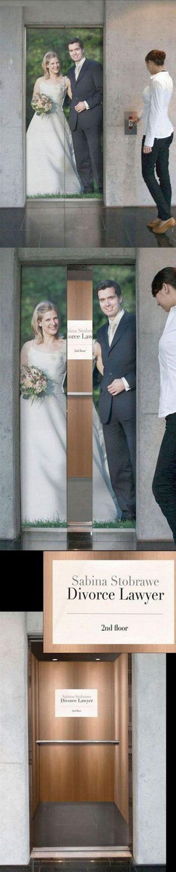 clever advertising - open doors reveal a divorce lawyer details www.arcreactions.com