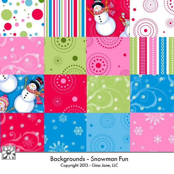 Backgrounds for digital scrapbooking - Snowman Fun - cute green, pink, red, blue and white Hoiiday Christmas Sowman for digital scrapping and crafting. DAISIE COMPANY: Printable Digital Paper Crafts, Clipart, Scrapbooking, Stamp, Party - DaisieCompany.com