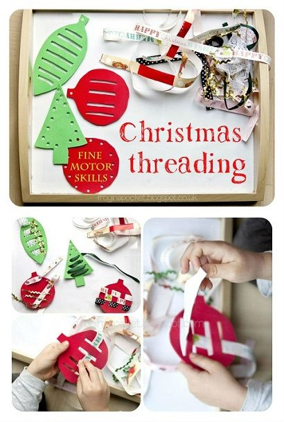 Christmas threading for kids, toddler and preschooler's activity, fine motor skills and hand-eye coordination