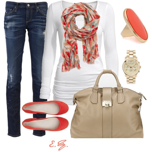 Fall casual: Shoes, Style, Weekend Outfits, Color, Fall Outfits, Fall Looks, Coral Casual, Scarves, Casual Outfits