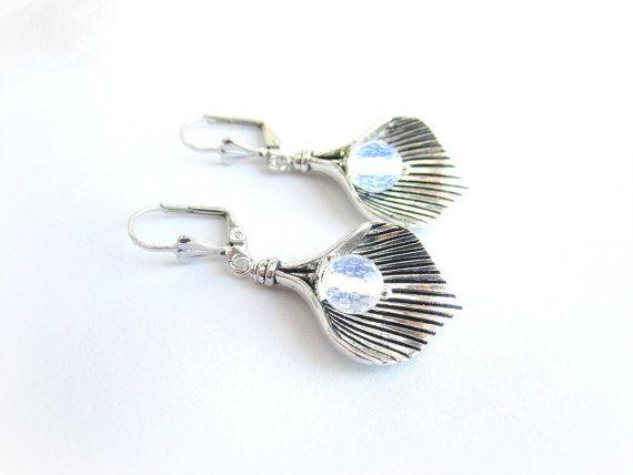 Calla flower earrings moonstone earrings by MalinaCapricciosa