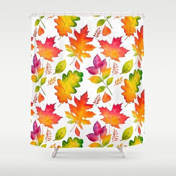 Check out Autumn Shower Curtain, Fall Shower Curtain, Fall leaves Shower curtain, Autumn Leaves, October Bathroom Decor, November shower, Orange Bath on peppermintcreek