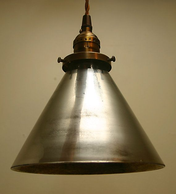 Pendant with Cone Shaped Mercury Glass Shade