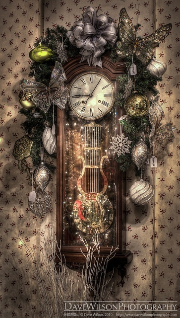 Christmas at the Caswell House - Decorated Clock by DaveWilsonPhotography, via Flickr