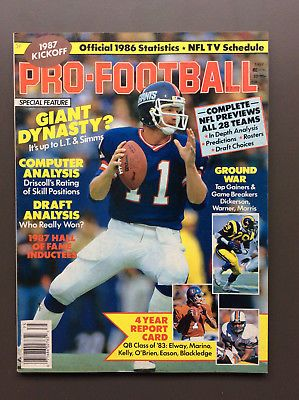 KICKOFF PRO FOOTBALL 1987 NFL Magazine Guide VG Condition Phil Simms Cover