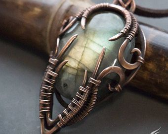 Fantasy wire wrapped pendant // Labradorite fantasy wire necklace // Copper fantasy necklace // Protection pendant // Protection necklace
