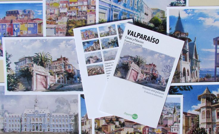 """Set de laminas en acuarela """"VALPARAÍSO. CASAS Y PALACIOS"""""""