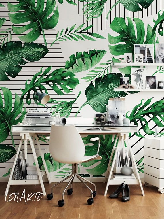 Pin By Jennifer Funes On Crafts Design In 2021 Wall Murals Striped Wallpaper Floral Wall Decor
