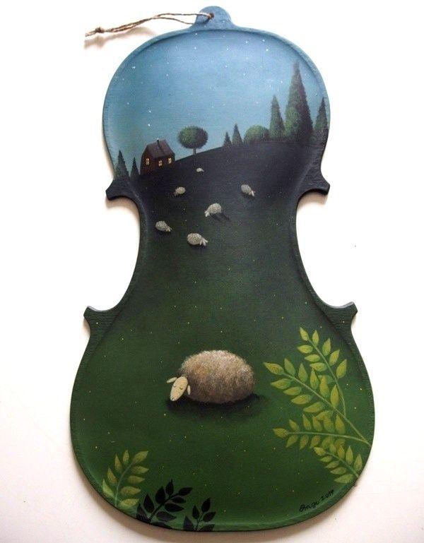 Počítání+oveček+malba+akrylem+na+origoš+houslové+desce+z+javorového+dřeva.+37+cm
