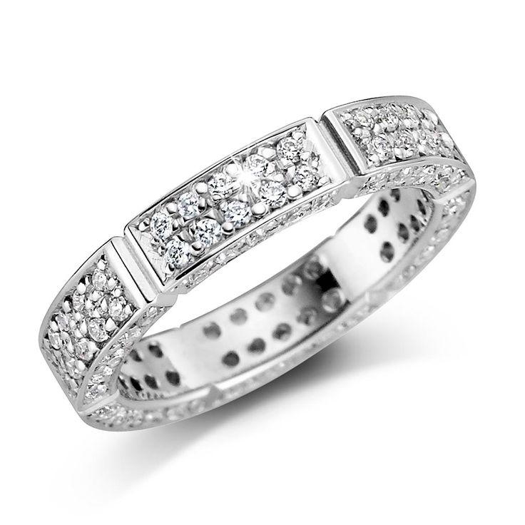 4mm ring,  hvitt gull. med diamant 0,60ct