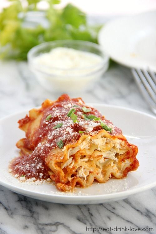 Creamy Chicken Lasagna Roll-Ups by Eat Drink Love. I followed the recipe but used jarred pasta sauce with basil. I would like to try a creamy sauce. I served two roll ups each. It was very filling