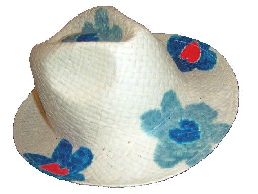 Flower Power Sommerlaune weisser Damenhut mit blauen Blumen Stroh 59
