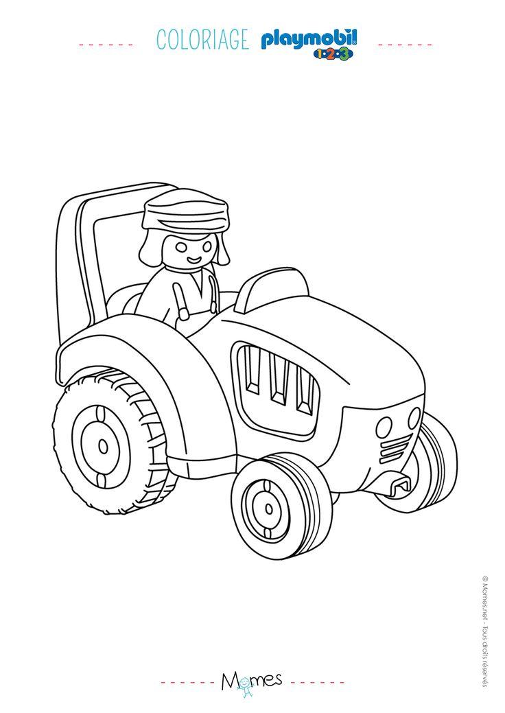Tous les matins, le fermier monte dans son tracteur pour s'occuper de sa ferme et faire un petit tour dans les champs. Imprimez ce coloriage pour enfant avec le fermier et son tracteur Playmobil pour votre p'tit môme. Il va adorer colorier un dessin de ses jouets préférés.