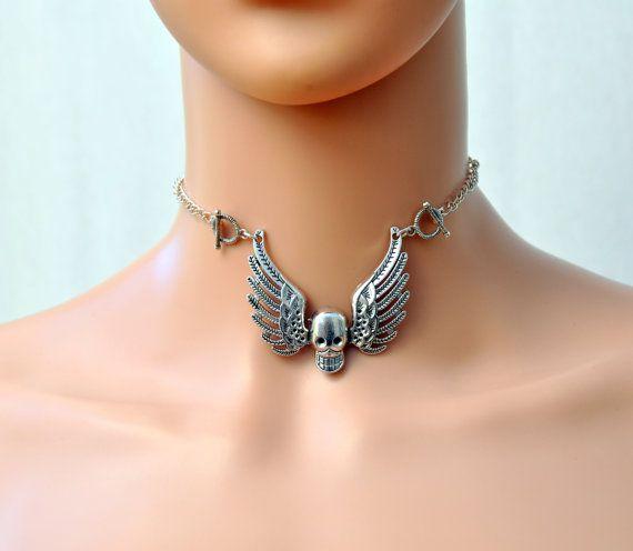 Flying skull necklace Skull with wings pendant Skull
