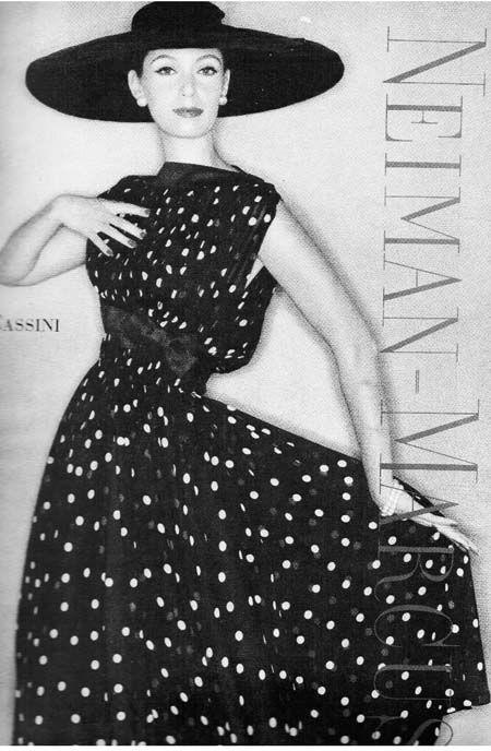 Oleg Cassini-polka dot chiffon dress Vogue 1957, Clifford Coffin photographer